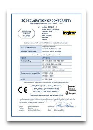 EC Declaration of Conformity Certificate