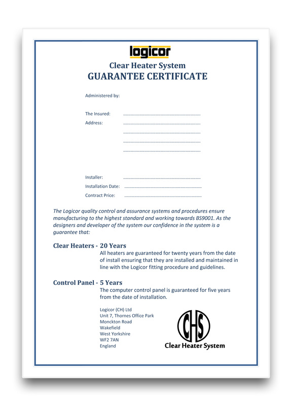 Clear Heater Szstem Guarantee Certificate