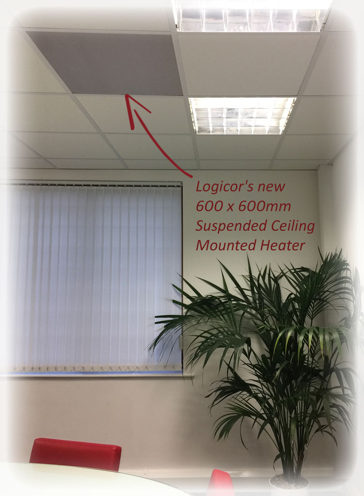 Suspended ceiling mounted heater